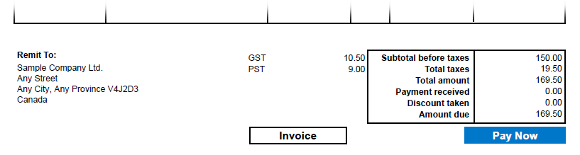 An image of an invoice showing the Pay Now button